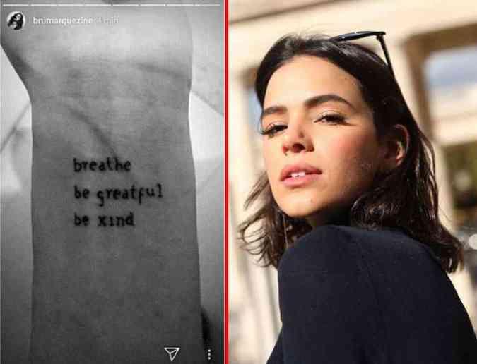 A atriz Bruna Marquezine gerou pol�mica entre os f�s no Instagram ao divulgar sua nova tatuagem, que traz um erro grave de grafia (foto: Instagram/brumarquezine/Reprodu��o)