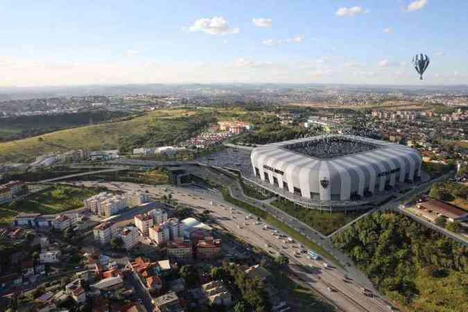 Projeção da Arena MRV: estádio do Galo terá capacidade para 46 mil torcedores(foto: Farkasvölgyi Arquitetura/Reprodução)